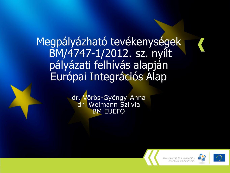 Megpályázható tevékenységek BM/4747-1/2012. sz. nyílt pályázati felhívás alapján Európai Integrációs Alap dr. Vörös-Gyöngy Anna dr. Weimann Szilvia BM