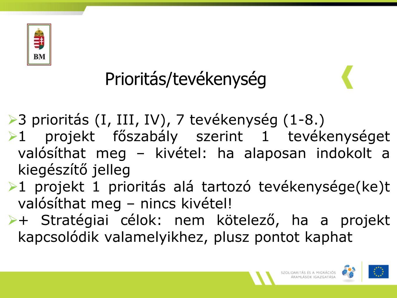 Prioritás/tevékenység  3 prioritás (I, III, IV), 7 tevékenység (1-8.)  1 projekt főszabály szerint 1 tevékenységet valósíthat meg – kivétel: ha alap