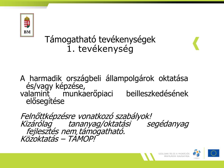 Támogatható tevékenységek 1. tevékenység A harmadik országbeli állampolgárok oktatása és/vagy képzése, valamint munkaerőpiaci beilleszkedésének előseg