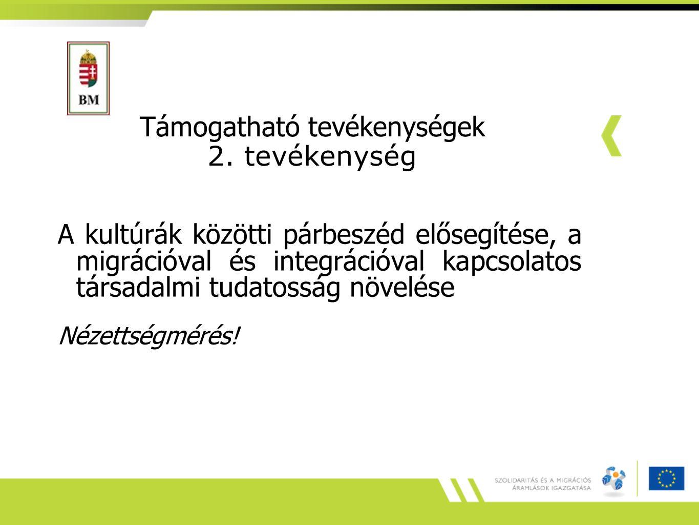 Támogatható tevékenységek 2. tevékenység A kultúrák közötti párbeszéd elősegítése, a migrációval és integrációval kapcsolatos társadalmi tudatosság nö