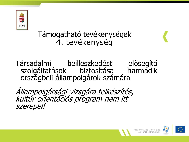 Támogatható tevékenységek 4. tevékenység Társadalmi beilleszkedést elősegítő szolgáltatások biztosítása harmadik országbeli állampolgárok számára Álla