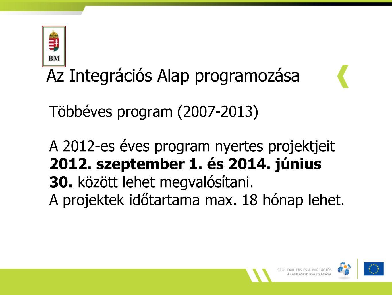 Az Integrációs Alap programozása Többéves program (2007-2013) A 2012-es éves program nyertes projektjeit 2012. szeptember 1. és 2014. június 30. közöt