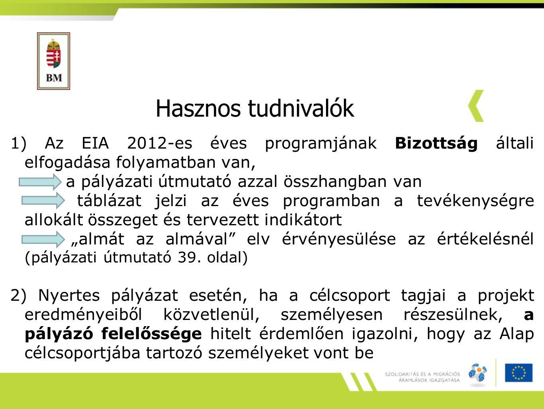Hasznos tudnivalók 1) Az EIA 2012-es éves programjának Bizottság általi elfogadása folyamatban van, a pályázati útmutató azzal összhangban van tábláza