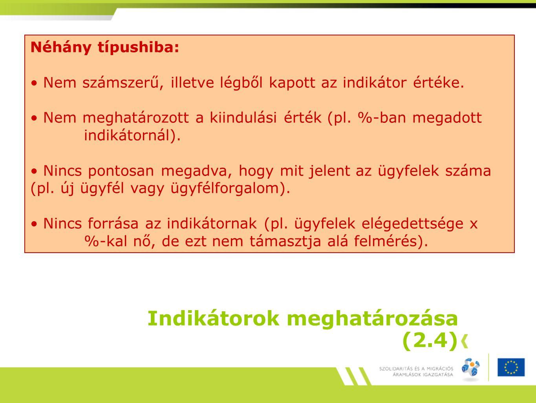 Indikátorok meghatározása (2.4) Néhány típushiba: Nem számszerű, illetve légből kapott az indikátor értéke.