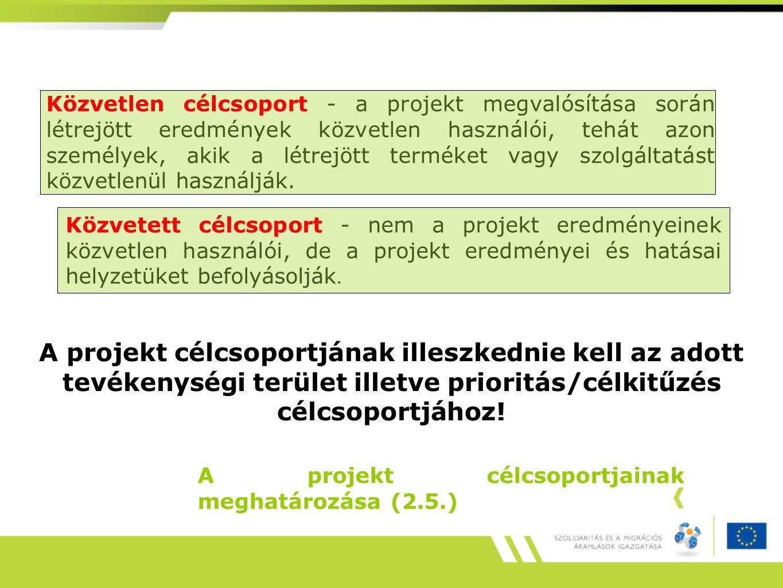 A projekt célcsoportjainak meghatározása (2.5.) Közvetlen célcsoport - a projekt megvalósítása során létrejött eredmények közvetlen használói, tehát azon személyek, akik a létrejött terméket vagy szolgáltatást közvetlenül használják.
