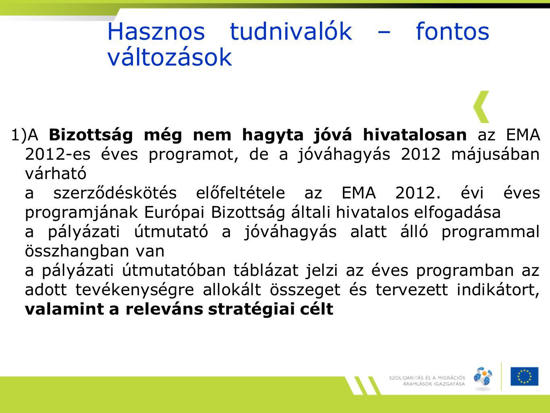 Hasznos tudnivalók – fontos változások 1)A Bizottság még nem hagyta jóvá hivatalosan az EMA 2012-es éves programot, de a jóváhagyás 2012 májusában várható a szerződéskötés előfeltétele az EMA 2012.