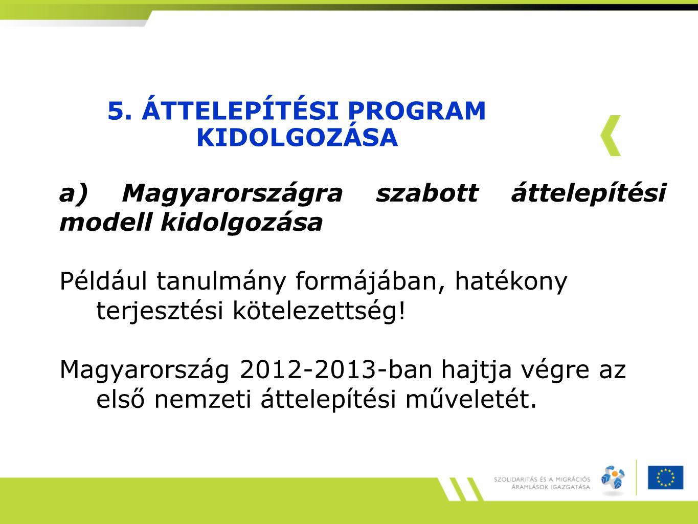 5. ÁTTELEPÍTÉSI PROGRAM KIDOLGOZÁSA a) Magyarországra szabott áttelepítési modell kidolgozása Például tanulmány formájában, hatékony terjesztési kötel