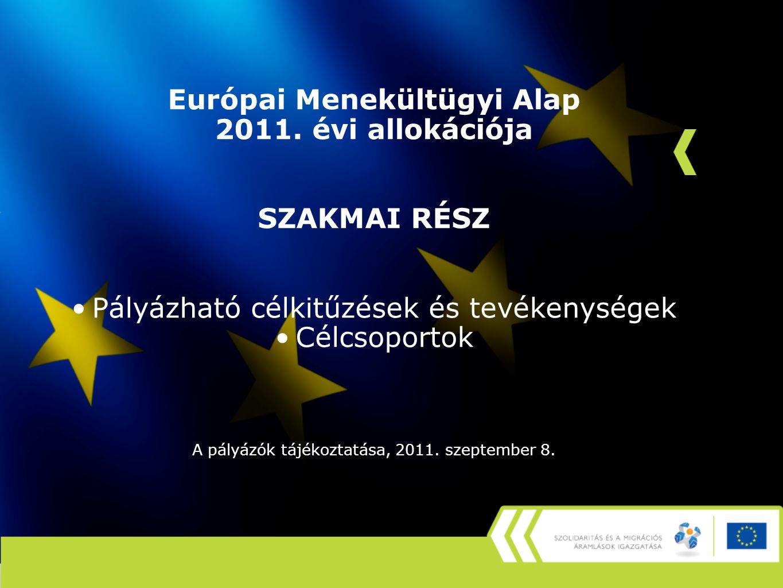 Európai Menekültügyi Alap 2011.