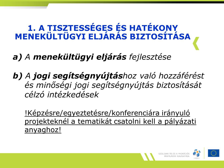 1. A TISZTESSÉGES ÉS HATÉKONY MENEKÜLTÜGYI ELJÁRÁS BIZTOSÍTÁSA a) A menekültügyi eljárás fejlesztése b) A jogi segítségnyújtáshoz való hozzáférést és