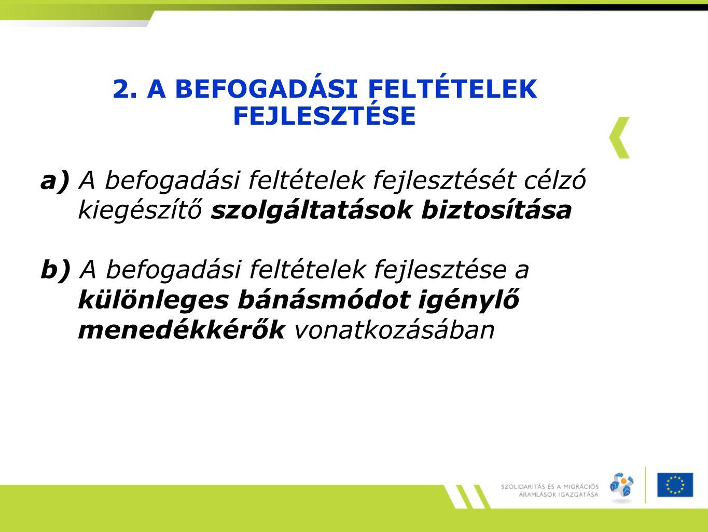 2. A BEFOGADÁSI FELTÉTELEK FEJLESZTÉSE a) A befogadási feltételek fejlesztését célzó kiegészítő szolgáltatások biztosítása b) A befogadási feltételek