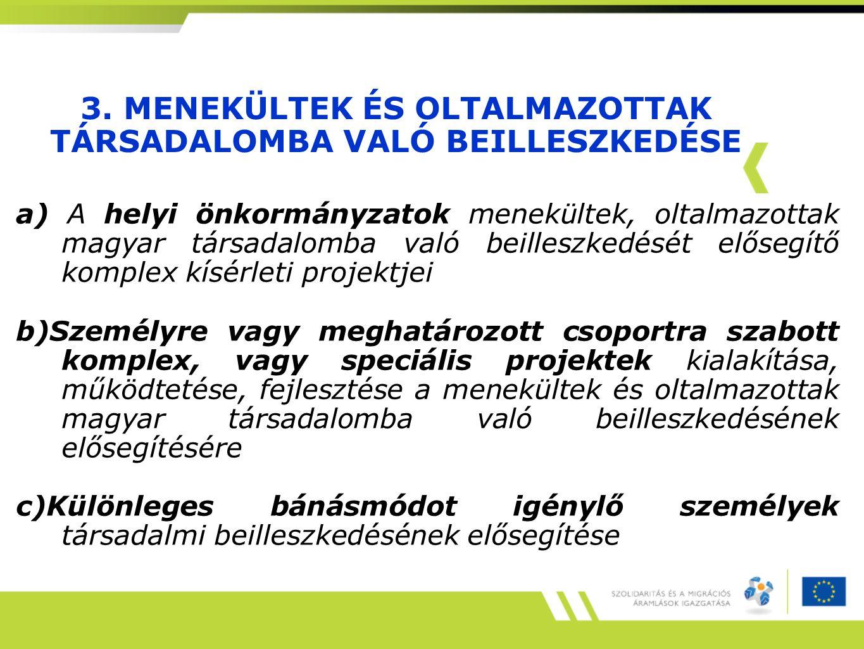 3. MENEKÜLTEK ÉS OLTALMAZOTTAK TÁRSADALOMBA VALÓ BEILLESZKEDÉSE a) A helyi önkormányzatok menekültek, oltalmazottak magyar társadalomba való beilleszk