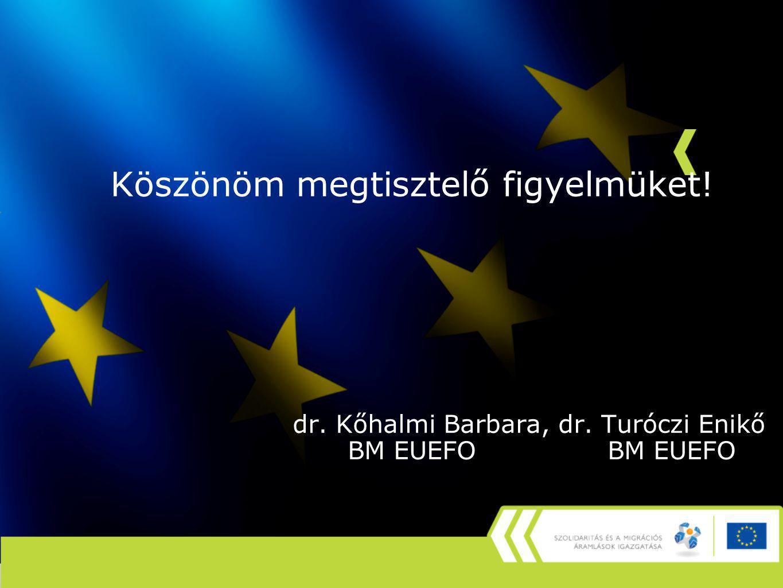 Köszönöm megtisztelő figyelmüket! dr. Kőhalmi Barbara, dr. Turóczi Enikő BM EUEFO BM EUEFO