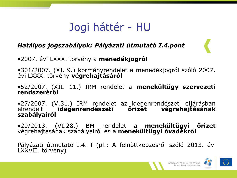 Jogi háttér - HU Hatályos jogszabályok: Pályázati útmutató I.4.pont 2007.