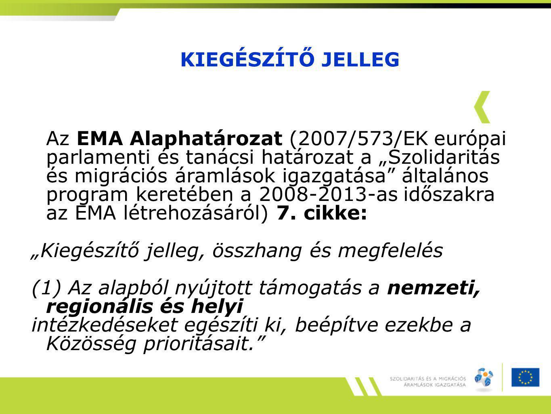 """KIEGÉSZÍTŐ JELLEG Az EMA Alaphatározat (2007/573/EK európai parlamenti és tanácsi határozat a """"Szolidaritás és migrációs áramlások igazgatása általános program keretében a 2008-2013-as időszakra az EMA létrehozásáról) 7."""