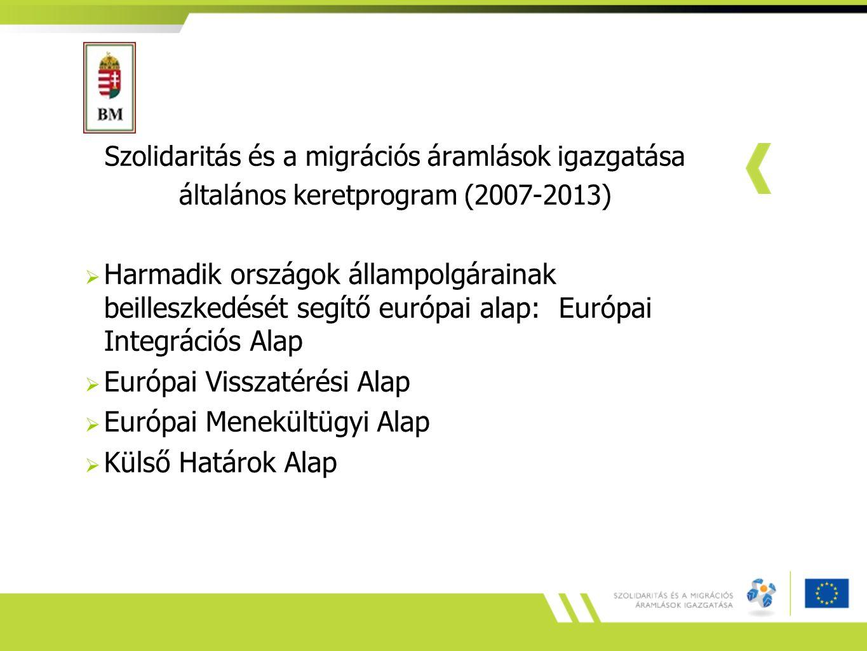 Szolidaritás és a migrációs áramlások igazgatása általános keretprogram (2007-2013)  Harmadik országok állampolgárainak beilleszkedését segítő európa