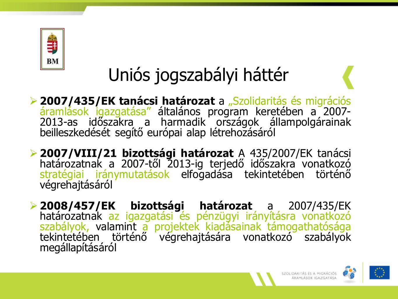 Hazai jogszabályi háttér  2007.évi II.