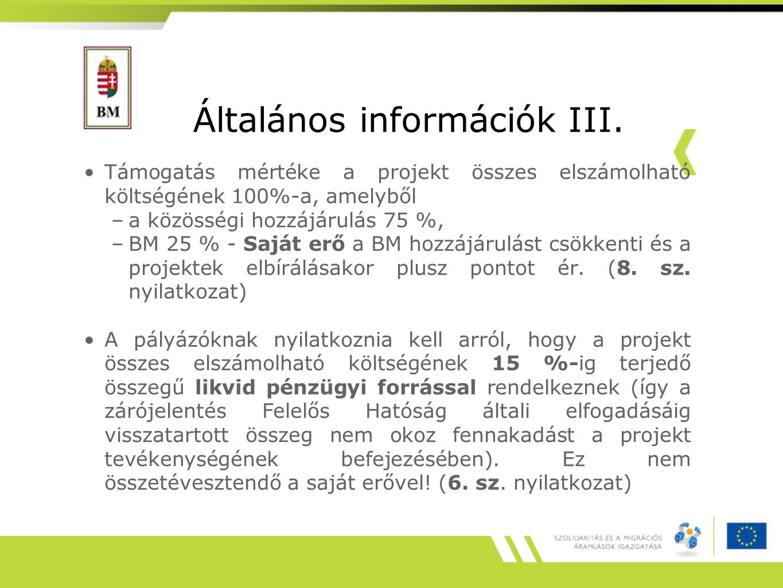 Általános információk III.