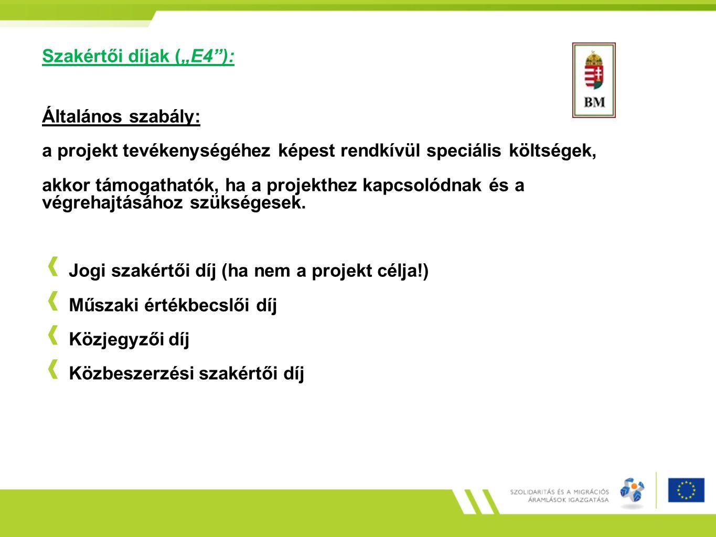 """Szakértői díjak (""""E4""""): Általános szabály: a projekt tevékenységéhez képest rendkívül speciális költségek, akkor támogathatók, ha a projekthez kapcsol"""