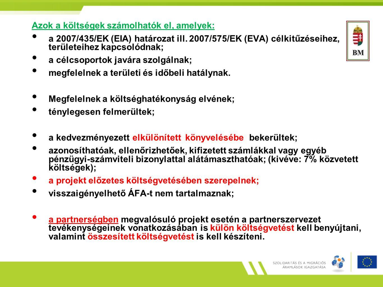 Kizárólag a projekt megvalósításának időszakában felmerült költségek számolhatók el.