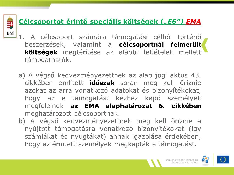 """Célcsoportot érintő speciális költségek (""""E6 ) EMA 1."""