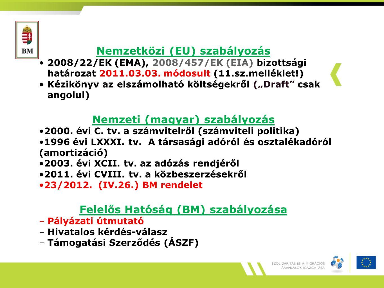 Azok a költségek számolhatók el, amelyek: a 2007/573/EK (EMA) ill.