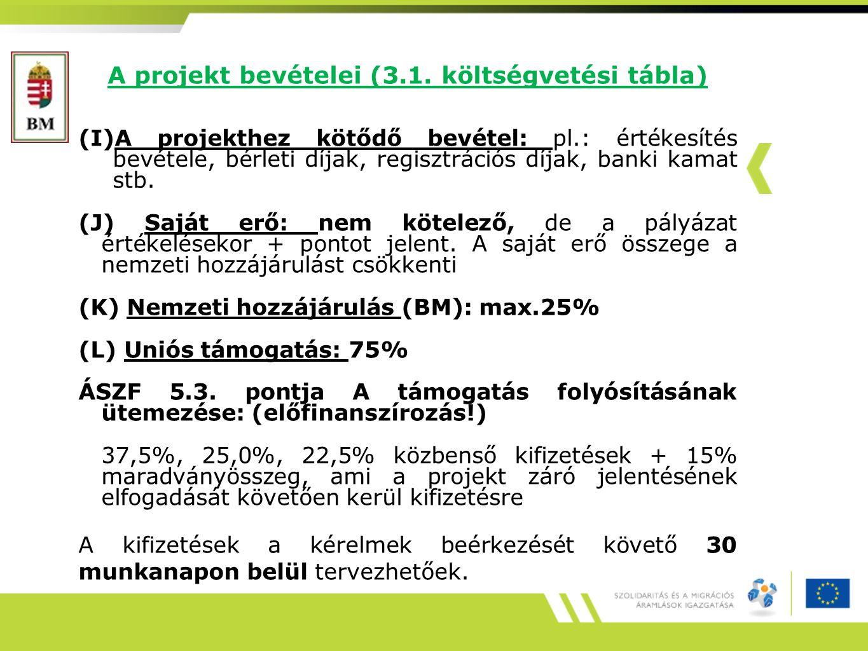 A projekt bevételei (3.1.