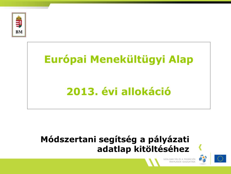 Európai Menekültügyi Alap 2013. évi allokáció Módszertani segítség a pályázati adatlap kitöltéséhez