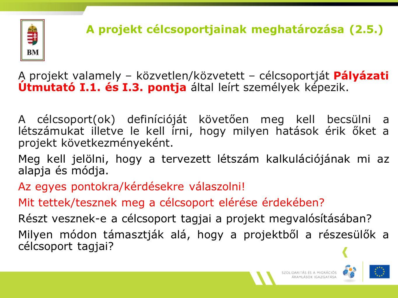 A projekt valamely – közvetlen/közvetett – célcsoportját Pályázati Útmutató I.1.
