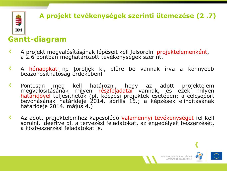 A projekt tevékenységek szerinti ütemezése (2.7) Gantt-diagram A projekt megvalósításának lépéseit kell felsorolni projektelemenként, a 2.6 pontban meghatározott tevékenységek szerint.
