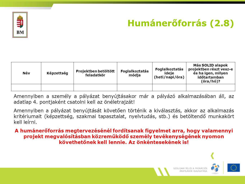 Humánerőforrás (2.8) Amennyiben a személy a pályázat benyújtásakor már a pályázó alkalmazásában áll, az adatlap 4.
