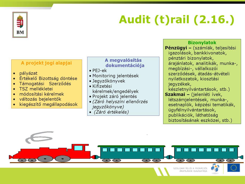 A projekt jogi alapjai pályázat Értékelő Bizottság döntése Támogatási Szerződés TSZ mellékletei módosítási kérelmek változás bejelentők kiegészítő megállapodások A megvalósítás dokumentációja PEJ-ek Monitoring jelentések Jegyzőkönyvek Kifizetési kérelmek/engedélyek Projekt záró jelentés (Záró helyszíni ellenőrzés jegyzőkönyve) (Záró értékelés) Bizonylatok Pénzügyi – (számlák, teljesítési igazolások, bankkivonatok, pénztári bizonylatok, árajánlatok, analitikák, munka-, megbízási-, vállalkozói szerződések, átadás-átvételi nyilatkozatok, kiosztási jegyzékek, készletnyilvántartások, stb.) Szakmai – (jelenléti ívek, létszámjelentések, munka-, esetnaplók, képzési tematikák, ügyfélnyilvántartások, publikációk, láthatóság biztosításának eszközei, stb.) Audit (t)rail (2.16.)