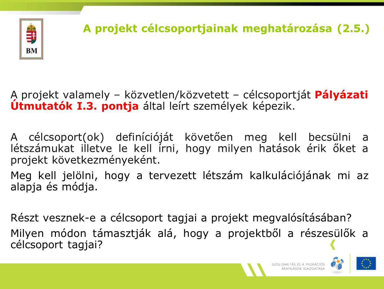 A projekt valamely – közvetlen/közvetett – célcsoportját Pályázati Útmutatók I.3.