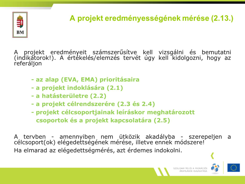 A projekt eredményességének mérése (2.13.) A projekt eredményeit számszerűsítve kell vizsgálni és bemutatni (indikátorok!).