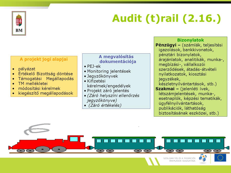 A projekt jogi alapjai pályázat Értékelő Bizottság döntése Támogatási Megállapodás TM mellékletei módosítási kérelmek kiegészítő megállapodások A megvalósítás dokumentációja PEJ-ek Monitoring jelentések Jegyzőkönyvek Kifizetési kérelmek/engedélyek Projekt záró jelentés (Záró helyszíni ellenőrzés jegyzőkönyve) (Záró értékelés) Bizonylatok Pénzügyi – (számlák, teljesítési igazolások, bankkivonatok, pénztári bizonylatok, árajánlatok, analitikák, munka-, megbízási-, vállalkozói szerződések, átadás-átvételi nyilatkozatok, kiosztási jegyzékek, készletnyilvántartások, stb.) Szakmai – (jelenléti ívek, létszámjelentések, munka-, esetnaplók, képzési tematikák, ügyfélnyilvántartások, publikációk, láthatóság biztosításának eszközei, stb.) Audit (t)rail (2.16.)