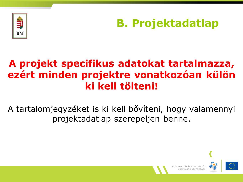 B. Projektadatlap A projekt specifikus adatokat tartalmazza, ezért minden projektre vonatkozóan külön ki kell tölteni! A tartalomjegyzéket is ki kell