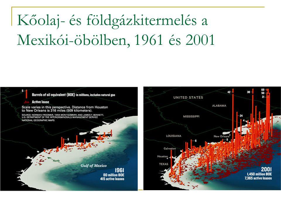 Kőolaj- és földgázkitermelés a Mexikói-öbölben, 1961 és 2001