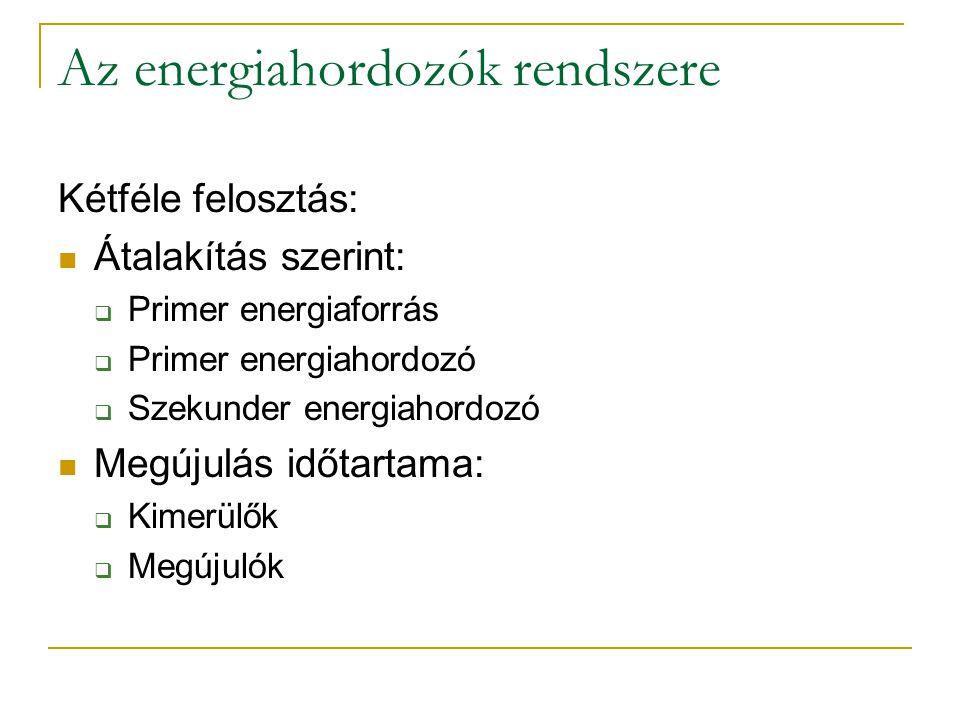 Az energiahordozók rendszere Kétféle felosztás: Átalakítás szerint:  Primer energiaforrás  Primer energiahordozó  Szekunder energiahordozó Megújulás időtartama:  Kimerülők  Megújulók