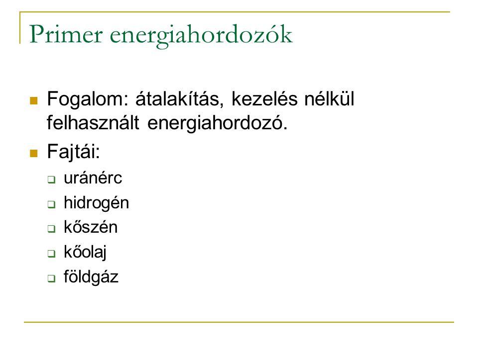 Szekunder energiahordozók Fogalom: kémiai (vagy fizikai) átalakításon átesett primer energiahordozó.