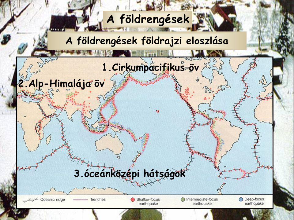 A földrengések földrajzi eloszlása A földrengések 1.Cirkumpacifikus öv 2.Alp-Himalája öv 3.óceánközépi hátságok
