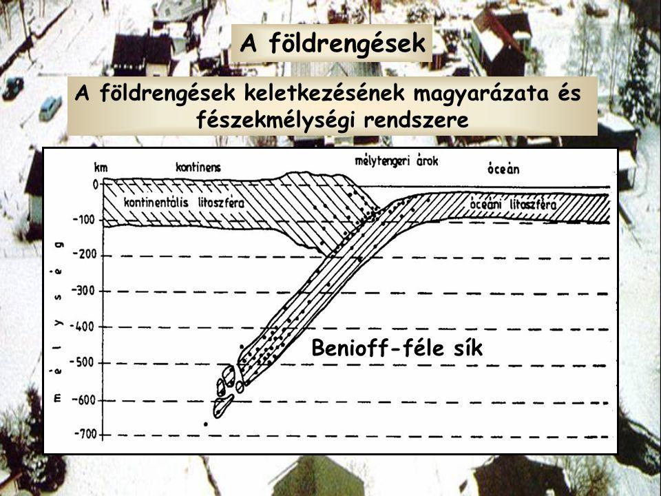 A földrengések A földrengések keletkezésének magyarázata és fészekmélységi rendszere Benioff-féle sík