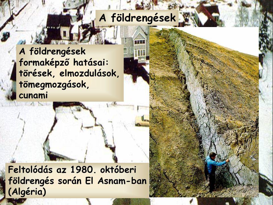 A földrengések formaképző hatásai: törések, elmozdulások, tömegmozgások, cunami A földrengések Feltolódás az 1980. októberi földrengés során El Asnam-