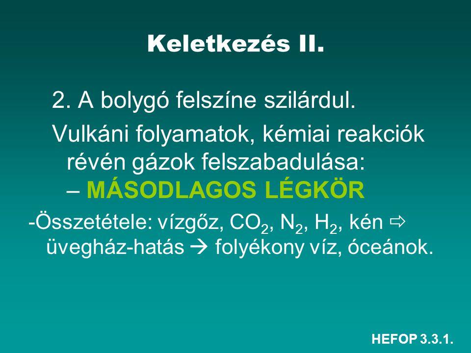HEFOP 3.3.1. Keletkezés II. 2. A bolygó felszíne szilárdul. Vulkáni folyamatok, kémiai reakciók révén gázok felszabadulása: – MÁSODLAGOS LÉGKÖR -Össze