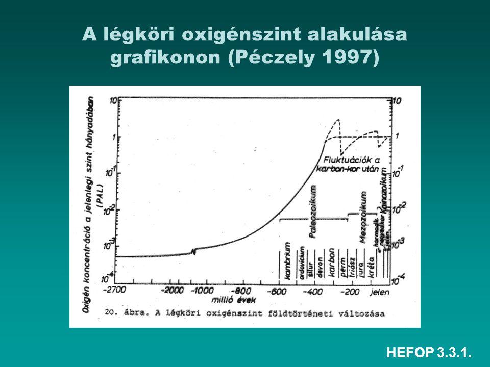 HEFOP 3.3.1. A légköri oxigénszint alakulása grafikonon (Péczely 1997)