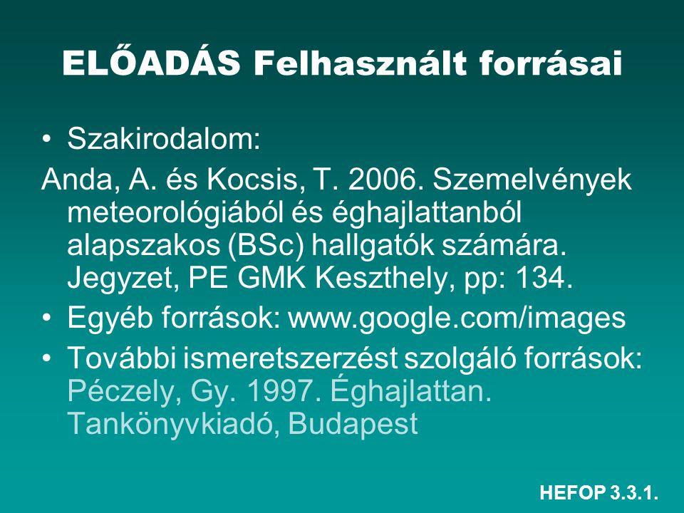HEFOP 3.3.1. ELŐADÁS Felhasznált forrásai Szakirodalom: Anda, A. és Kocsis, T. 2006. Szemelvények meteorológiából és éghajlattanból alapszakos (BSc) h