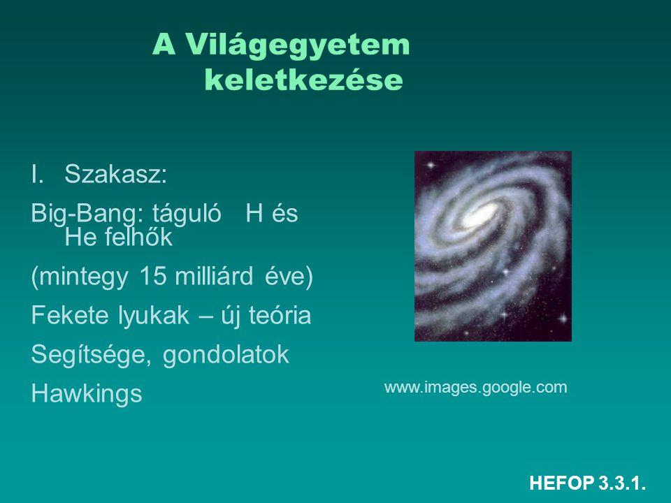 HEFOP 3.3.1. A Világegyetem keletkezése I.Szakasz: Big-Bang: táguló H és He felhők (mintegy 15 milliárd éve) Fekete lyukak – új teória Segítsége, gond