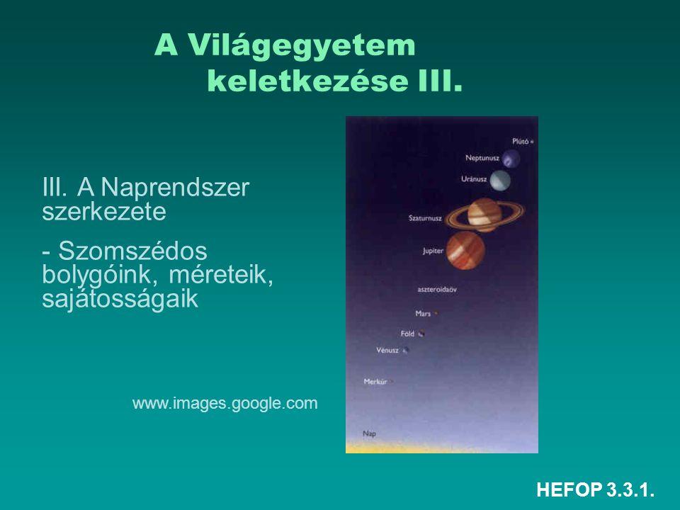 HEFOP 3.3.1. A Világegyetem keletkezése III. III. A Naprendszer szerkezete - Szomszédos bolygóink, méreteik, sajátosságaik www.images.google.com