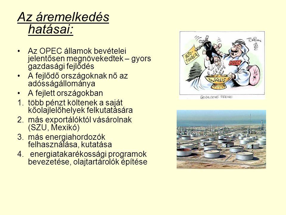 Az áremelkedés hatásai: Az OPEC államok bevételei jelentősen megnövekedtek – gyors gazdasági fejlődés A fejlődő országoknak nő az adósságállománya A fejlett országokban 1.több pénzt költenek a saját kőolajlelőhelyek felkutatására 2.más exportálóktól vásárolnak (SZU, Mexikó) 3.más energiahordozók felhasználása, kutatása 4.