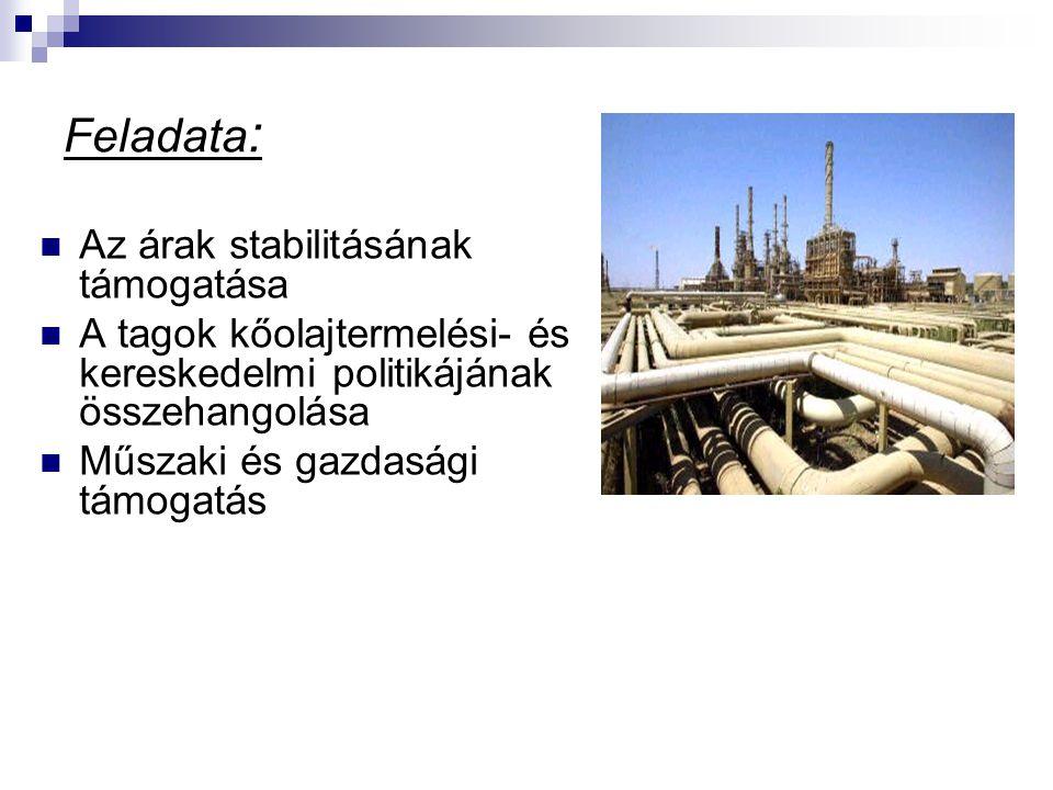 Feladata : Az árak stabilitásának támogatása A tagok kőolajtermelési- és kereskedelmi politikájának összehangolása Műszaki és gazdasági támogatás