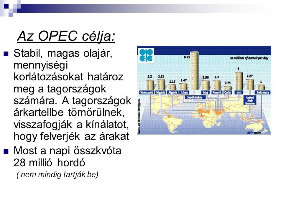 Az OPEC célja: Stabil, magas olajár, mennyiségi korlátozásokat határoz meg a tagországok számára.