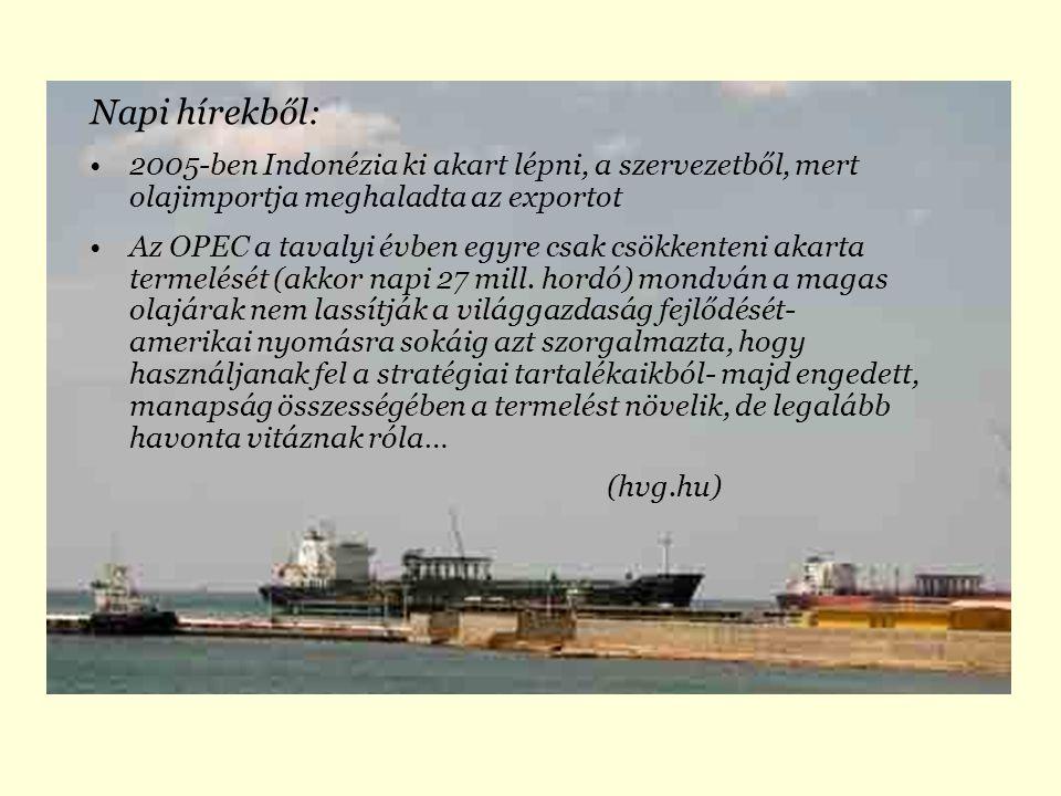 Napi hírekből: 2005-ben Indonézia ki akart lépni, a szervezetből, mert olajimportja meghaladta az exportot Az OPEC a tavalyi évben egyre csak csökkenteni akarta termelését (akkor napi 27 mill.